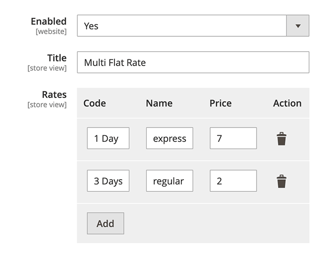 Magento 2 Multiple Flat Rates