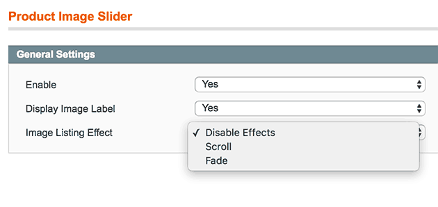 Product Image Slider for Magento - Settings